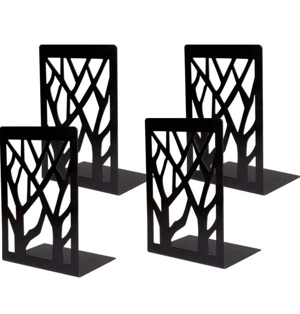 Bookends, Metal Bookends for Heavy Books, Book Ends Holder for Shelves, Non-Skid Home Decorative Bookends, Book Shelf Stoppers Black (2pair)