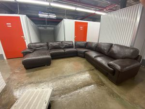 Brown Leather sectional couch for Sale in Malden, MA