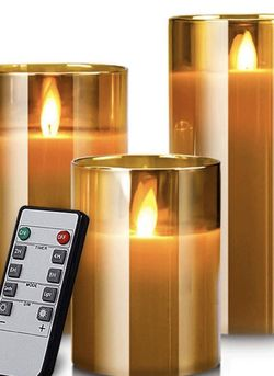 Led Flameless Candles, Battery Operated Flickering Candles Pillar Real Wax Moving Flame Electric Candle Sets Gold Glass Effect with Remote Timer, 4 in for Sale in Orlando,  FL