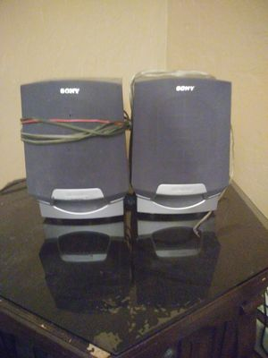 Sony megabass stereo speakers with wires hooks up to stereo systems and surround sound systems and anything that takes red and black connectors for Sale in Sturbridge, MA