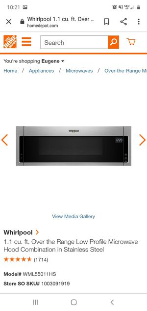 Whirlpool low profile microwave. for Sale in Gresham, OR