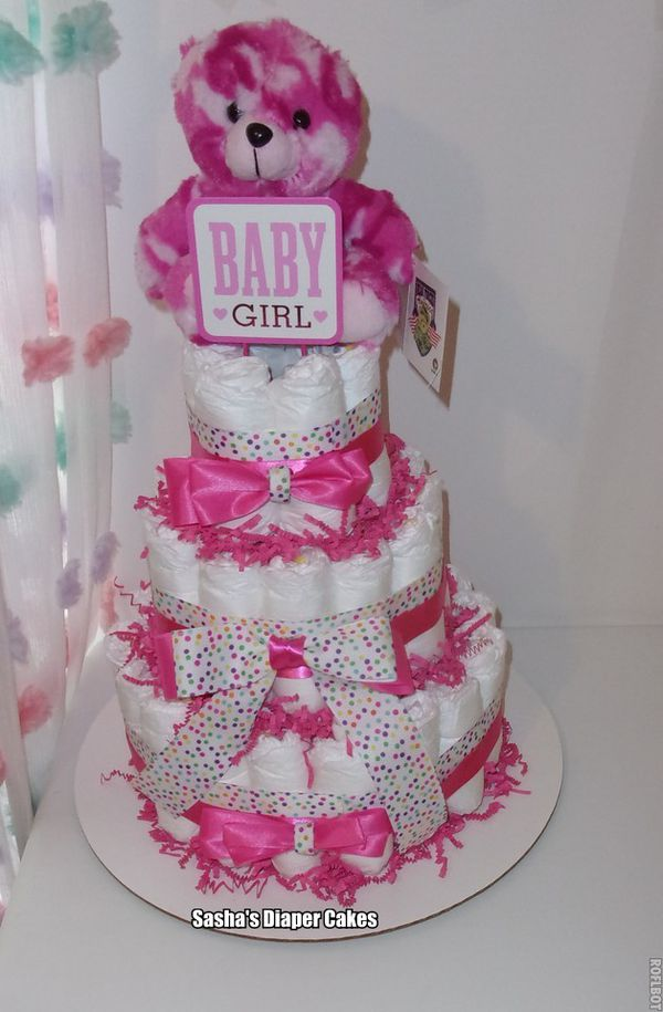 Pink 3 Tier Diaper Cake for Baby Girl with Stuffed Animal (Bear)