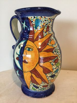 Vintage Mexican hand painted and crafted pottery water pitcher sun Moon stars for Sale in Berlin, MD