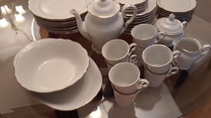 Tienshan fine china, white with gold trim. 44 pieces. Asking $60. for Sale in PT CHARLOTTE, FL