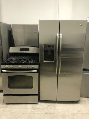 GE side x side stainless steel refrigerator & GE 5 burner stainless steel gas stove set for Sale in Chicago, IL