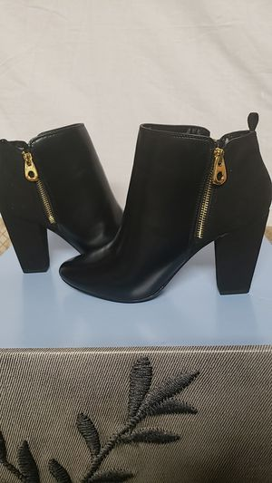 New Black Double Zipper Faux Leather and Suede Size 10 Booties for Sale in Alexandria, VA