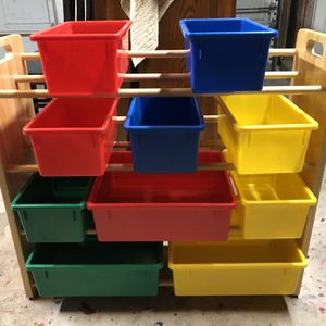 Storage Shelf With Containers for Sale in Houston, TX