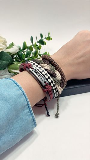 Braided Multi-layer Leather Bracelet (Set of 4), Believe for Sale in Tustin, CA