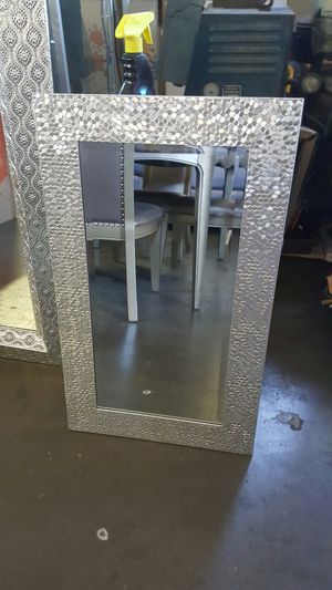 """Gray silver wall hanging mirror 29"""" high x 17 1/2"""":wide for Sale in Downey, CA"""