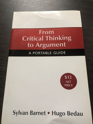 From Critical Thinking to Argument: A Portable Guide for Sale in Washington, DC