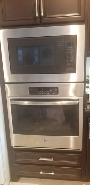 Gently used GE Profile Series 2.2 Cu. Ft. Built in Sensor Microwave Oven and GE Electric Wall Ovens Self Cleaning with Steam in Stainless Steel for Sale in Yorba Linda, CA