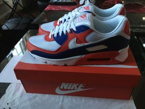 Sizes 11.5, 11 Nike Air Max 90 Men Size Running Shoes USA White Red Blue for Sale in Silver Spring, MD