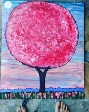 Painting of pink tree by Happyartsy for Sale in Phoenix, AZ