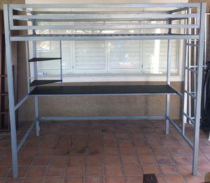 Novogratz 4370429N Maxwell Metal Twin Loft Desk & Shelves, Gray Bunk Bed for Sale in Scottsdale, AZ