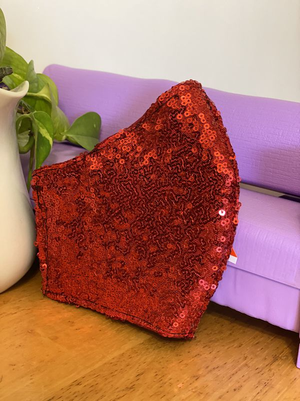 Red glitter night face mask