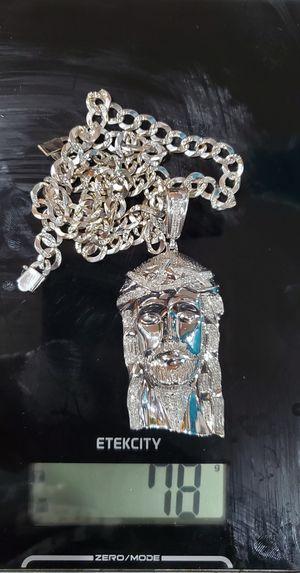 14k White gold Cuban 10k white Jesus Piece 2.3ct for Sale in Cheltenham, MD