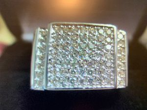 Mens 10 Kt White Gold and 1 Ct Pave Diamond Ring - Sz 10 for Sale in Bullard, TX