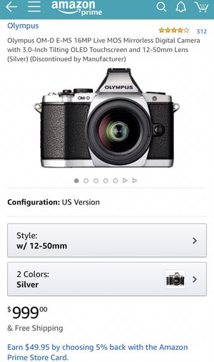Olympus OM-D E-M5 16MP Live MOS Mirrorless Digital Camera with 3.0-Inch Tilting OLED Touchscreen and 12-50mm Lens (Silver) (Discontinued by Manufactu for Sale in San Francisco, CA