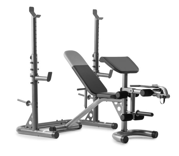 Olympic Weider XRS 20 adjustable Olympic workout bench with independent squat rack and preacher curl