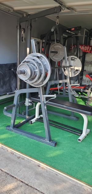 Bench press Squad rack Biceps pull downs an back comes with all the weights an Olympic bar for Sale in DeSoto, TX