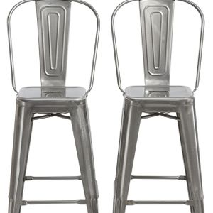 SET OF 2 Clear Metal Antique Rustic Counter height Bar Stool Chair High Back Counter stool metal barstools bar stools NEW IN BOX metal bar stools met for Sale in Brea, CA
