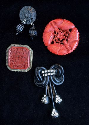 Antique Chinese Export Cinnabar brooch pendant celluloid & jet Brooches for Sale in Alameda, CA