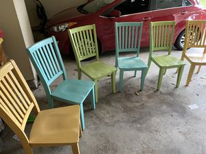 Modern art glossy pastel chairs, solid wood for Sale in Hampton, VA