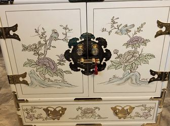 Antique gold trim flower bird butterfly jewelry chest for Sale in Dearborn Heights,  MI