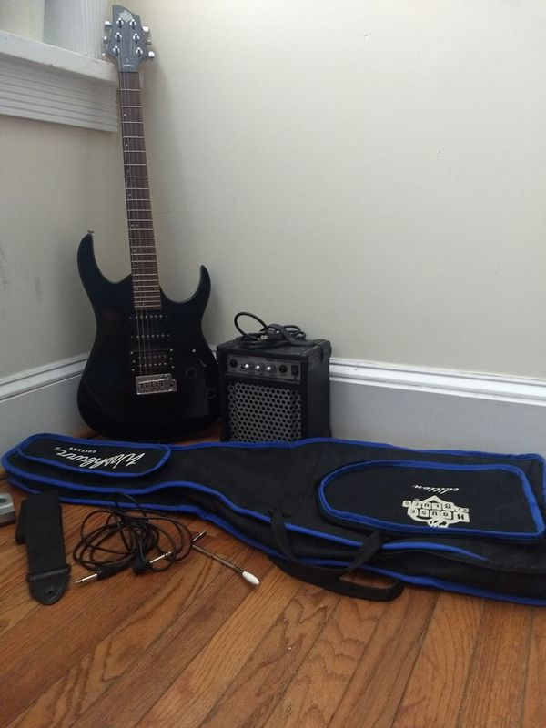 Washburn House of Blues Electric Guitar, amp, and tools