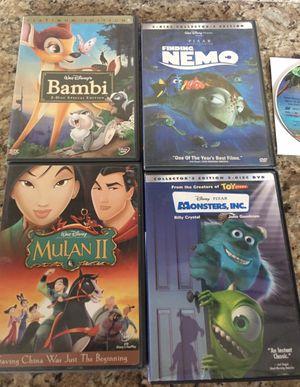 DISNEY DVDS MOVIES BAMBI NEMO MULAN MONSTERS INC (5) for Sale in El Cajon, CA