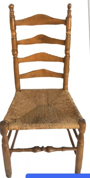$40 obo Early vintage ladder back chair thatch rush seat French country for Sale in Waterboro, ME