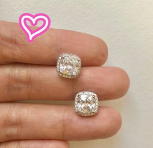 14K White Gold Plated Halo Stud Earrings for Sale in Danville, CA
