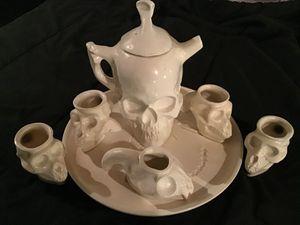 Bone China Skull Teapot, Monkey Skull Cups, & Fossil Plate for Sale in Shawnee, KS
