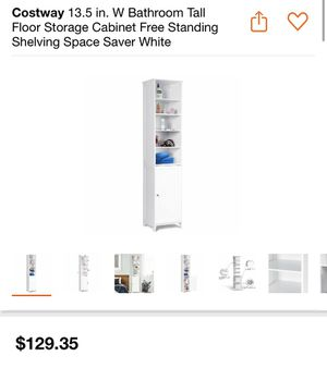 Costway 13.5 in. W Bathroom Tall Floor Storage Cabinet Free Standing Shelving Space Saver White (New in Box Assembled Requieres) for Sale in Bloomington, CA