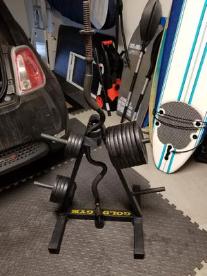 130 lbs worth of weights, rack and Curl Bar for Sale in Irvine, CA