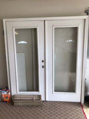 French doors steel/glass with jambs and moulding 36 for Sale in Port St. Lucie, FL