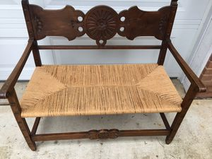 Vintage rustic bench rush seat for Sale in Fort Washington, MD