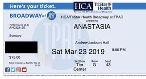 Anastasia at TPAC 2 tickets for Sale in Nashville, TN