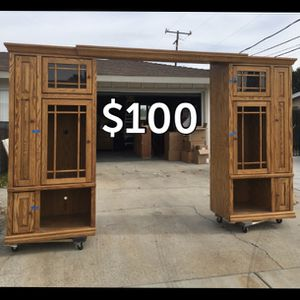 TV Entertainment Center storage wood cabinet garage living room shelf shelves for Sale in Hemet, CA