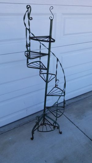 "beautiful! antique wrought iron 7 tier plant stand , 63""inch height , all original , made in USA for Sale in Upland, CA"