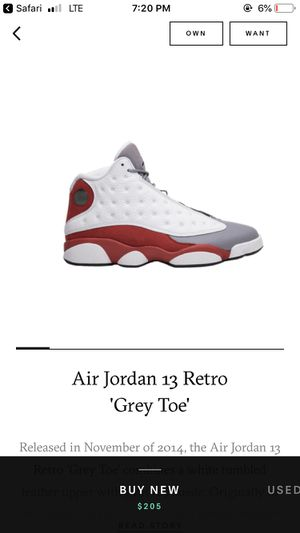 """AIR JORDAN 13 RETRO """"GREY TOE"""" Size 10 for Sale in Lacey Township, NJ"""