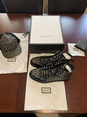 Gucci GG Leather Caleido Hi-Top Sneakers Mens Size Gucci 12.5/USA 13.5 for Sale in Milwaukee, WI