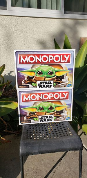 2X NEW The Mandalorian Baby Yoda Star Wars Monopoly Boardgame board game You will receive 2 Board games. Comes from a pet-free and smoke-free home. for Sale in Ventura, CA