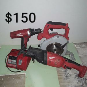 Milwaukee 18V Saw An Drill With Charger An Sawzall Hachet for Sale in San Angelo, TX
