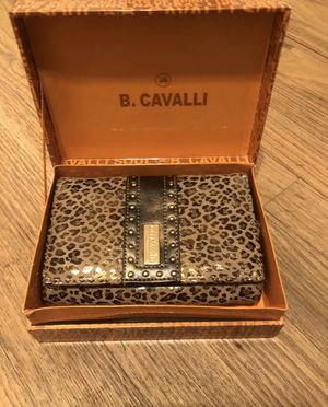 B Cavalli Studded Leopard Print Foldover Wallet for Sale in New York, NY