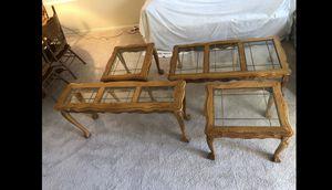 Oak/glass end table set (4) for Sale in Las Vegas, NV