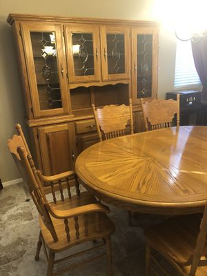 Oak Dining table & China Hutch for Sale in Temecula, CA