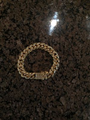 Gold Iced Out Cuban Link Bracelet for Sale in Tuscaloosa, AL