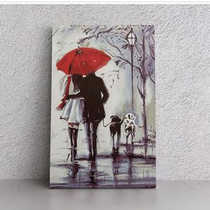 man and woman poster painting umbrella dogs wall art for Sale in Aloha, OR