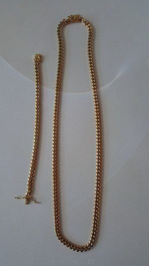 """30"""" 8mm Miami Cuban Link stainlees steel chain and bracelet for Sale in Plainfield, IN"""